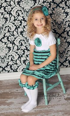 Aqua Mint Ruffle Peasant Tee Dress Sizes 2-10. $44.00, via Etsy. SO CUTE
