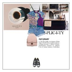 """Pink"" by dancingwithyou ❤ liked on Polyvore featuring Prada, Levi's, Peter Pilotto, Michael Kors, Converse, RetroSuperFuture, jeanshorts, denimshorts and cutoffs"