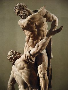 Hercules and Atlas statue - by Michel Anguier, 1668 - at the Museum of Louvre