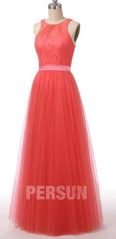 Robe de cocktail longue living corail haut en dentelle florale Formal Dresses, Red, Fashion, Floral Lace, Coral, Dress Ideas, Top, Dresses For Formal, Moda
