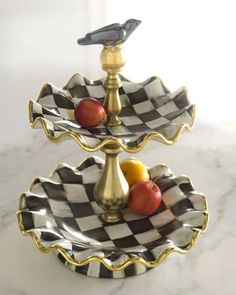 H5ZLY MacKenzie-Childs Courtly Check 2-Tier Stand