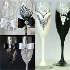 Customised champaigne glasses for the bride and groom