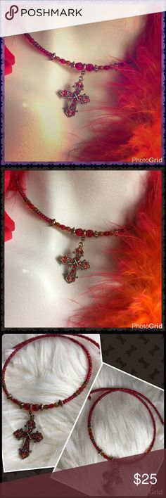 """Cross choker necklace New without tags. Copper toned wired necklace with copper and red beads (on necklace) & copper and red rhinestones (on cross). 2028 jewelry brand.  Approx 16"""". 2028 Jewelry Jewelry Necklaces"""