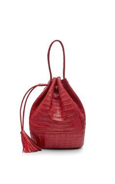 Orange Pink Crocodile Drawstring Satchel by Nancy Gonzalez - Moda Operandi