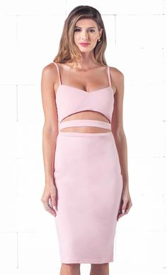 Indie XO Seductive Tease Pink Spaghetti Strap V Neck Cut Out Waist Zip Back Bodycon Midi Dress - Just Ours!