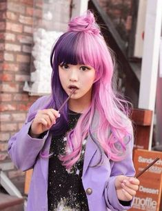 Inspiring Pastel Hair Color Ideas – My hair and beauty Kawaii Hairstyles, Pretty Hairstyles, Short Hairstyles, Popular Hairstyles, Ponytail Hairstyles, Wedding Hairstyles, Half And Half Hair, Half Updo, Pelo Multicolor