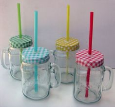 Set of four 16oz Clear Glass Mason Jar Mugs with Multicolor Lids and Straws
