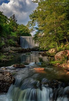 Shady Lake Spillway in the Ouachita National Forest,  Arkansas. Shady Lake is a popular small lake that includes this gorgeous waterfall spillway as well as campsites, hiking trails, swimming areas, a boat ramp and a playground. Great for families! Photo by Brian Branam