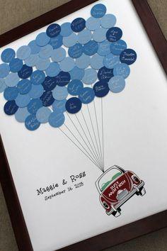 Statt einem Gästebuch ein Bild gestalten - Die Namen der Gäste als Ballons