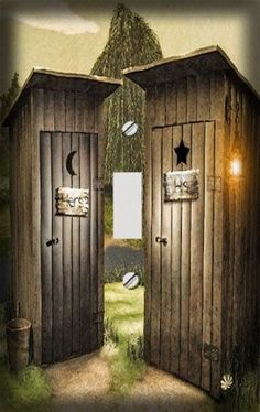 His And Hers Outhouse Decorative Switchplate Cover By Unknown, Http://www.  Outhouse Shower Curtain
