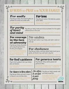 10 Ways to Pray for Your Family Praying for your family can help you focus on what's really important. Here are 10 ways to pray for your own family. Prayer Scriptures, Bible Prayers, Faith Prayer, Praying For Your Family, Prayer For Family, Praying For Friends, Prayer Closet, Prayer Room, Prayer Wall