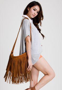 #Chicwish  Camel Fringe Knit Strap Shoulder Bag - Goods - Retro, Indie and Unique Fashion