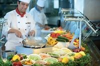 One of the buffet lines South Beach Club  Cuisine: Buffet, Deli, Grill, Salads, Pasta, Chicken, Steak Dress Code: Casual Surcharge: No Reservations Required: No Hours Breakfast: 7:00 am - 10:30 am Lunch: noon - 2:30 pm Dinner: 6:00 pm - 9:30 pm