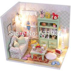 2015 chegam novas boneca miniatura 3D de madeira Diy Dollhouse miniature móveis para crianças brinquedos casas de bonecas presente de aniversário
