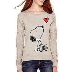 jcp | Peanuts Raglan-Sleeve Snoopy French Terry Sweatshirt