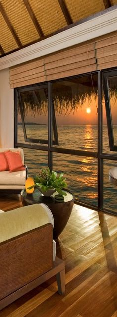 Sunset from bungalow...Four Seasons Resort....Maldives