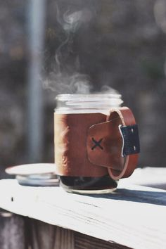 leather cup cozy