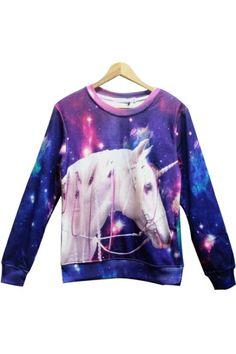 Unicorn Print Fleece Sweatshirt OASAP.com