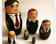 X-Files Nesting Doll Set (Mulder! Scully! Smoking Man! Skinner! Doggett! Grey Alien!)