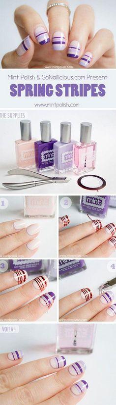 Uñas decoradas con cintillas o cintas +50 diseños super lindos! | Decoración de Uñas - Nail Art - Uñas decoradas - Part 4