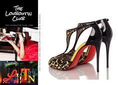 "NWB CHRISTIAN LOUBOUTIN ""Tiny"" 100 Leo Gold/Black/Patent Size 37.5 #ChristianLouboutin #OpenToe"