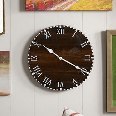 """Essex Hand Crafted Wood Products Oversized 18"""" Colchester Reclaimed Style Round Wood Wall Clock"""