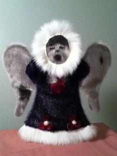 Inuit made sealskin angel by Lucy Nigiyok