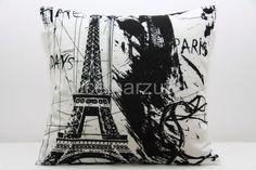 Białe poszewki na poduszki z motywem miasta Paryż