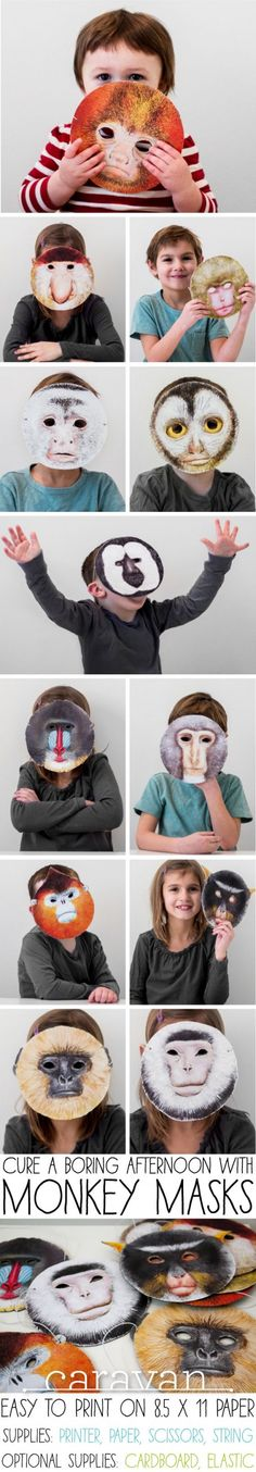 Monkey Masks, by Mike Loveland for CaravanShoppe.com. Simply download and print 12 different masks. Great for a party or just for fun at home.