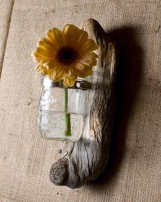 Driftwood mason jar vase.