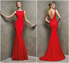 Simple Red Mermaid Evening Dresses 2016 Vintage Square Bateau Backless Prom Dresses Cheap Long Women Party Formal Gowns Custom Made Elegant Dresses, Beautiful Dresses, Gala Dresses, Dresses 2016, Mode Vintage, Formal Gowns, Dream Dress, Ball Gowns, Evening Dresses