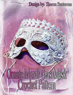Ornate Mardi Gras Mask Crochet Pattern by creeksendinc on Etsy    beautiful crocheted mask-one of a kind!