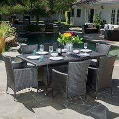 Capri Outdoor Dining Set with Cushions by Christopher Knight Home (Brown), Size Sets, Patio Furniture (Fabric) Wicker Dining Set, Dining Furniture Sets, Outdoor Dining Set, Outdoor Seating, Outdoor Living, Outdoor Furniture Sets, Outdoor Decor, Patio Dining, Dining Sets