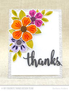 Handmade card from Barbara Anders featuring the Flashy Florals Card Kit #mftstamps