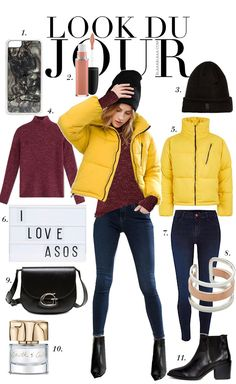 Look Du Jour: Gelbflucht. Burgundy sweater+dark skinny jeans+black ankle boots+yellow puffer jacket+black beanie+black crossbody bag. Winter Casual Outfit 2017