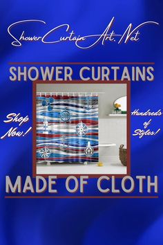 Drastically enhance your bathroom decor with a soft & stylish fabric shower curtain from Shower Curtain Art. Fancy Shower Curtains, Nautical Shower Curtains, Shower Curtain Art, Bathroom Shower Curtains, Bathroom Fixtures, Man Cave Bathroom, Downstairs Bathroom, Master Bathroom, Bath Screens