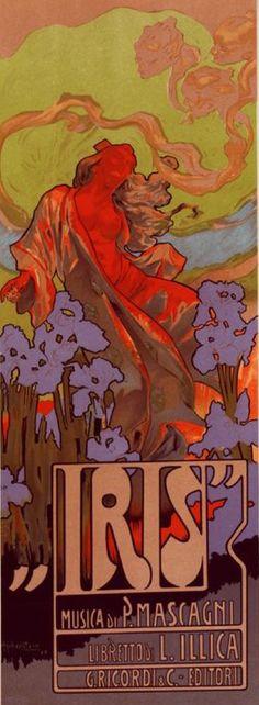 """Poster by Adolf Hohenstein (1854-1928), 1898, Opera Comique """"Iris""""."""