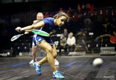 Raneem is great at taking the ball in short, notice how open her racket face is, allowing her to put cut on the ball!