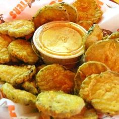 Hooter's Fried Pickles...nxt time I won't use as much salt as the recipe calls for. Kids loved them dipped in ranch.