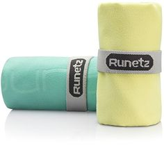 Runetz 2pc MICROFIBER TOWELS Super Absorbent Quick Drying Sport Gym Camp Car Care Travel 2pc Large Small Size SeaGreenYellow -- Find out more about the great product at the image link.