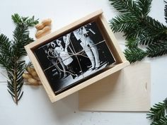 """Unfinished wooden photo box for 4"""" x 6"""" (10x15cm) photos with sliding lid,  natural wood photo print box 4x6, box for 4x6 prints"""