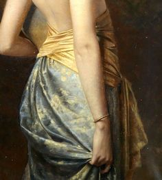"A Young Girl, Half Dressed in a Sarong, Holding a Vase of Flowers"" (detail) by Max Nonnenbruch (1857-1922)"
