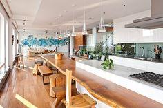 Granite - complex, Concrete, Breakfast Bar, Eclectic, Rustic, Columns, European, U-Shaped, Undermount, Pendant