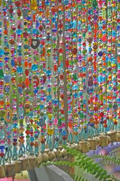 Items similar to Colorful Beaded Beaded Strings Unique Sun catcher-hanging door beads-beaded wall hanging-bohemian wall art-Boho interior design on Etsy Indie Room Decor, Aesthetic Room Decor, Room Ideas Bedroom, Bedroom Decor, Bedroom Colors, Hanging Door Beads, Diy Inspiration, Beaded Curtains, Hippy Room