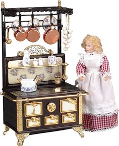 Blue Gold Kitchen Stove Set | Mary's Dollhouse Miniatures