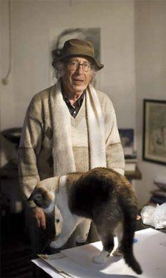 Antipoeta Nicanor Parra con un gato grande delante