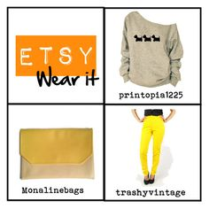Don't you have a good wear? Get some cool goods! Puppy printed sweatshirt: https://www.etsy.com/listing/219081200 Colorblock clutch: https://www.etsy.com/listing/240469889 Skinny jeans: https://www.etsy.com/listing/172158760 #wear #fashion #cool #colorblock #puppy #vintage
