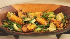 Grilled Corn w/ Green Bean Salad