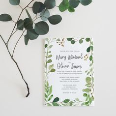 Printable Wedding Invitation Set Watercolor Green Leaf Suite