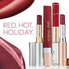 The holiday season is the perfect time to flaunt a red lip! Passion Lip Fixation Lip Stain/Gloss; Margi PureMoist Lipstick; Crabapple PureGloss Lip Gloss; and Montreal Just Kissed Lip Plumper.